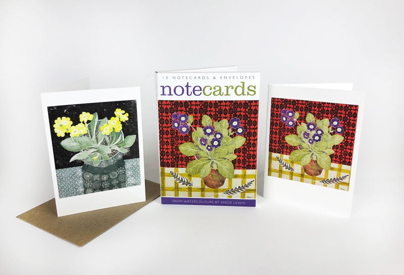 Auricula with Japanese Paper & Totem with Auricula Lithographs By Angie Lewin Pack of 10 Notecards