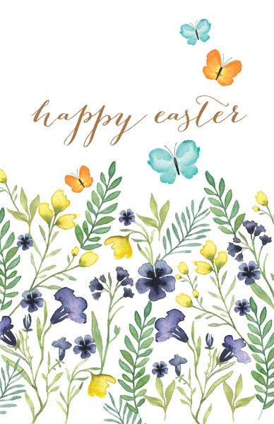 Happy Easter Floral Butterflies Pack of 6 Cards
