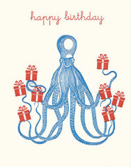 Happy Birthday Blue Octopus Holding Gifts Card