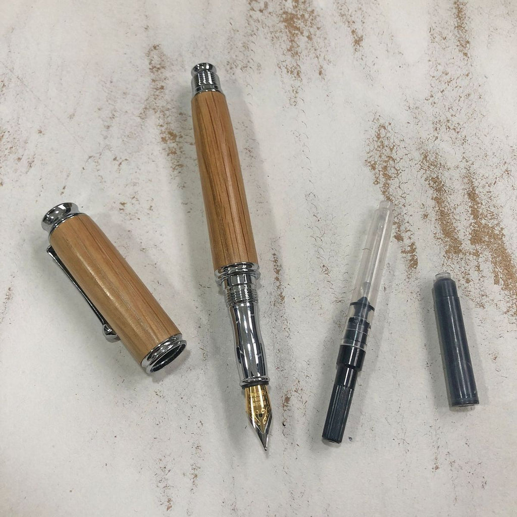 Honley Handmade Fountain Pen Recycled Whiskey Barrel in Oak Chrome