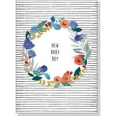 New Baby Card - Boy Floral