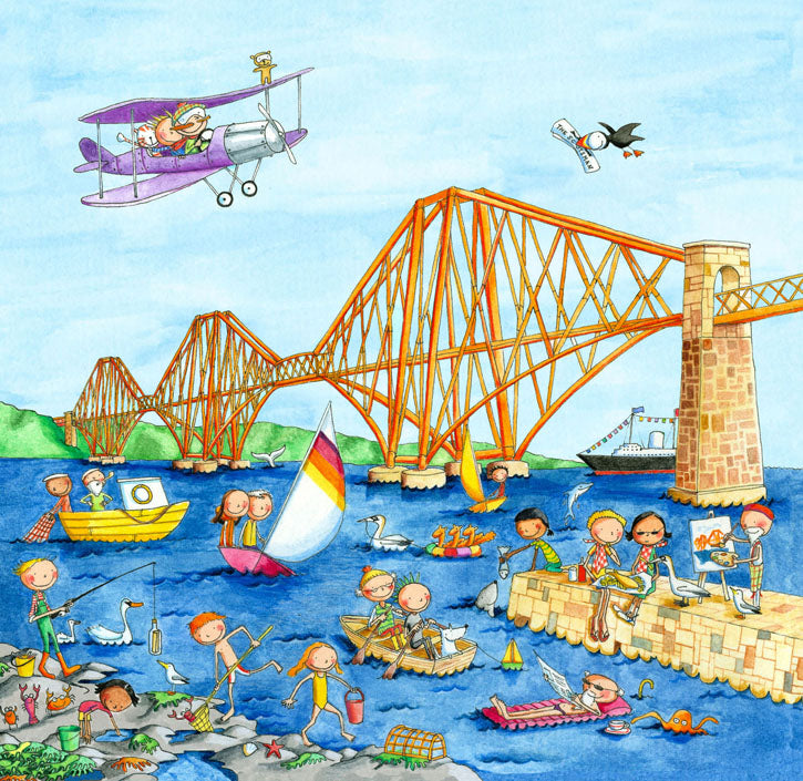 The Forth Rail Bridge Gingerpaws Square Card