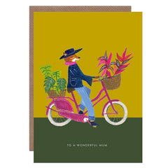 Fox On Bike Wonderful Mum Card