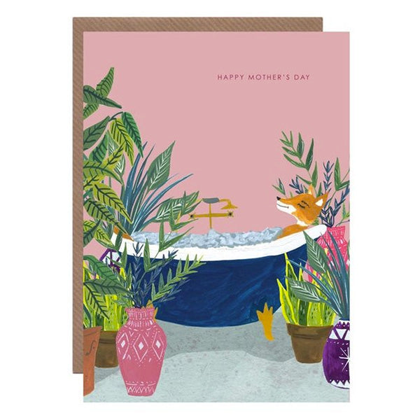 Fox In Bath Mother's Day Card