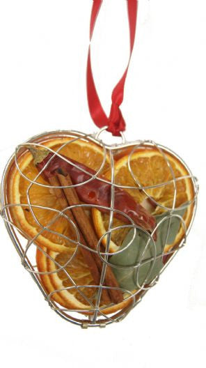 Dried Fruit Hanging Heart Decoration - Silver