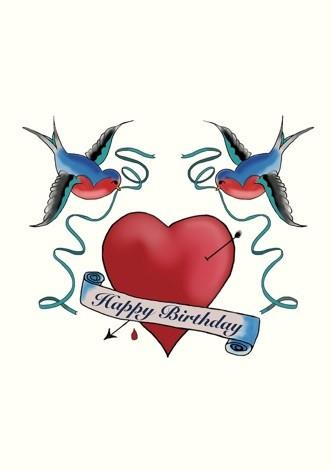Happy Birthday Swallows Tattoo Card