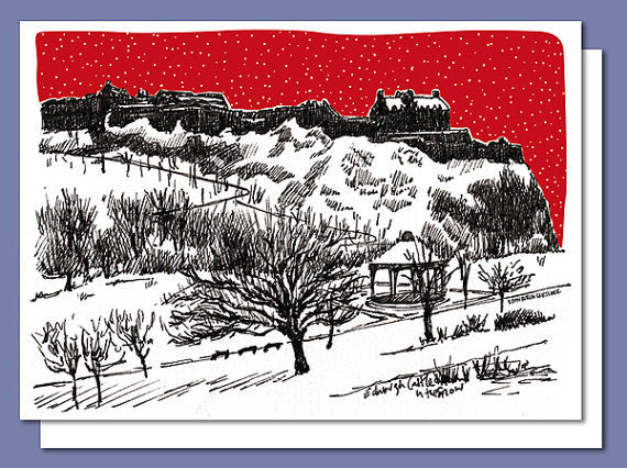 Edinburgh Castle in Snow Christmas Card