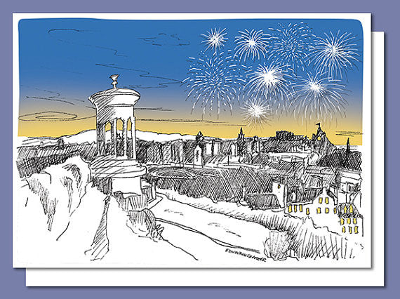 Calton Hill Fireworks Christmas Card