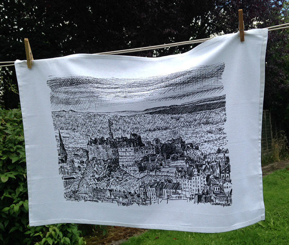 Edinburgh Castle Sketch Tea Towel