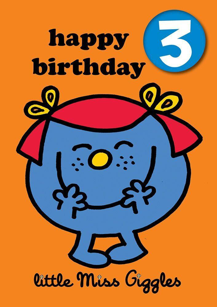 Little Miss Age 3 Badge Birthday Card