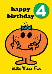 Little Miss Age 4 Badge Birthday Card