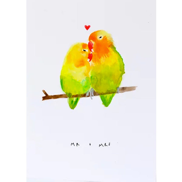 Mr And Mrs Love Birds Card
