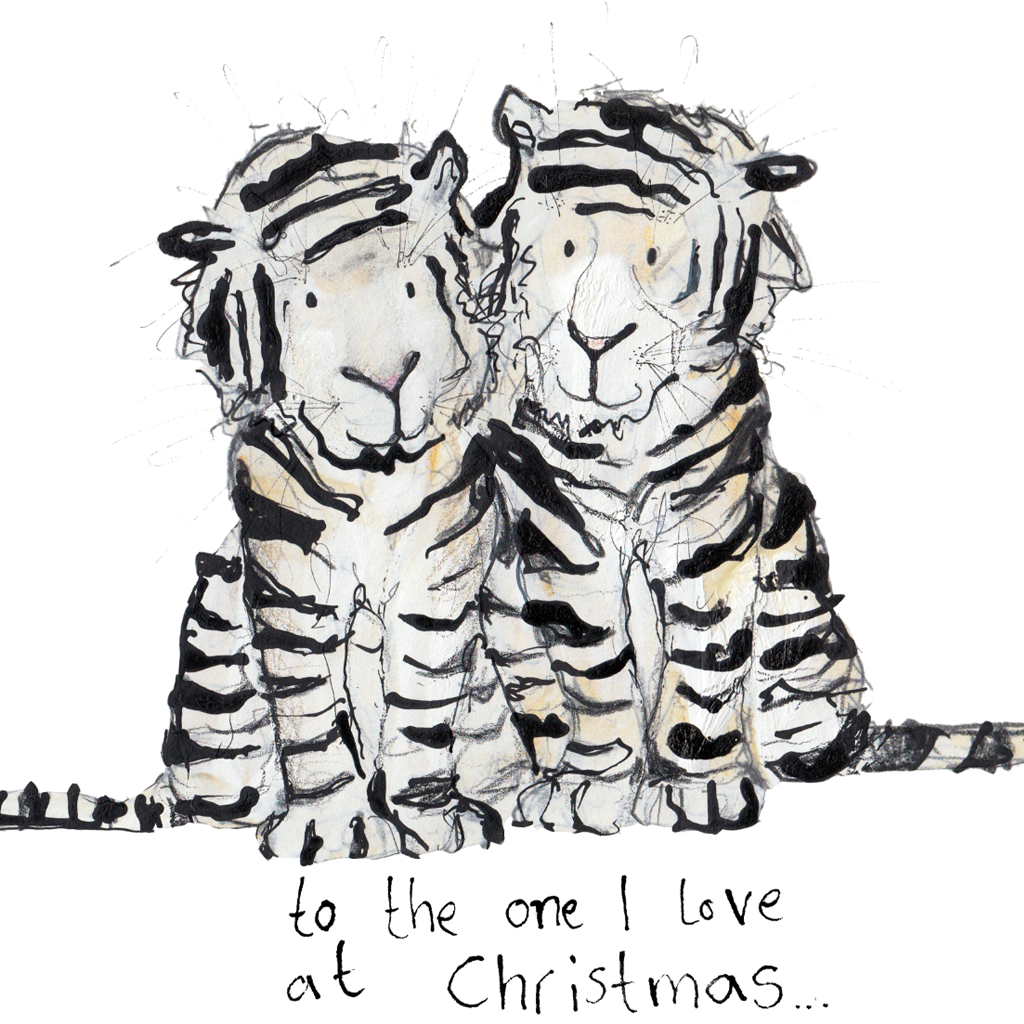 The One I Love Siberian Tiger Christmas Card by Catherine Rayner