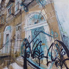 Railings West End Edinburgh Card by Lucy Jonesl
