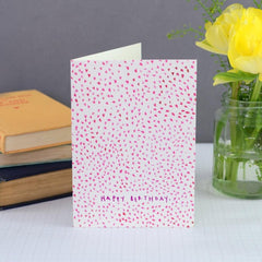 Mini Pink Hearts Happy Birthday Card