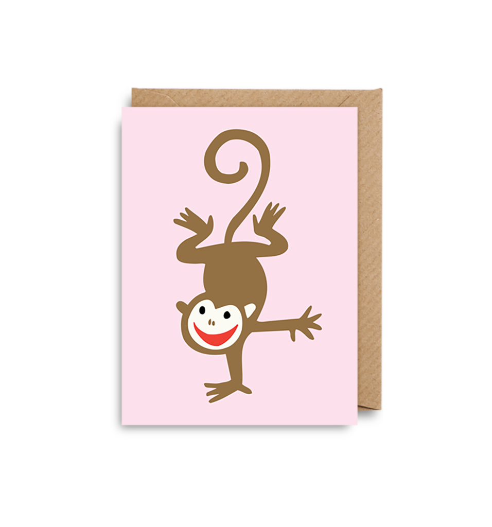 Brown and Pink Monkey Mini Card