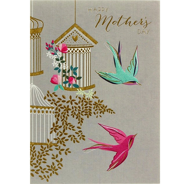 Happy Mothers Day Two Birds Flying Card