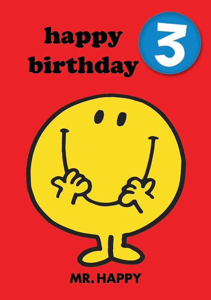 Mr Men Age 3 Badge Birthday Card