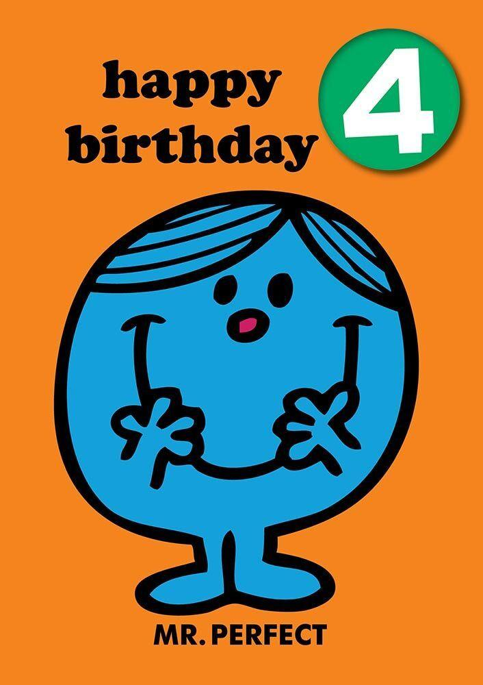 Mr Men Age 4 Badge Birthday Card