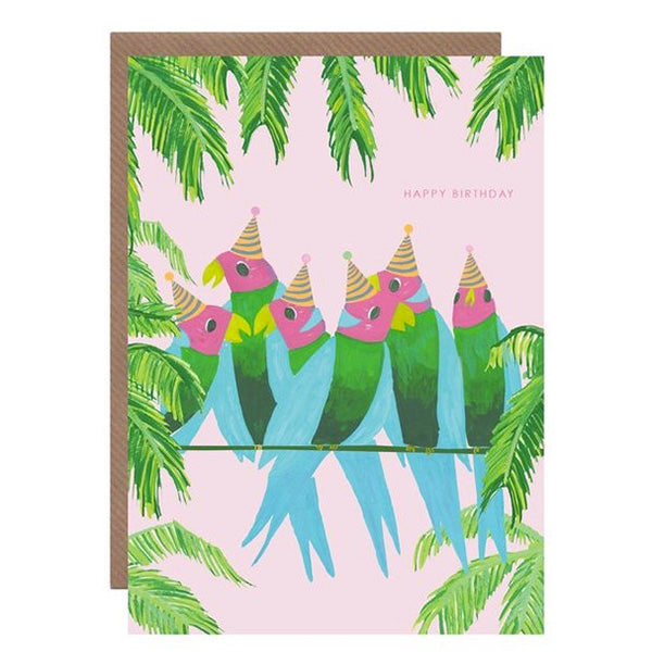 Parrots On A Line Birthday Card