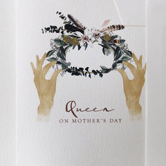 Hand Embroidered Queen on Mother's Day Garland Card