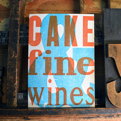 Cake & Fine Wines Letterpress Birthday Card