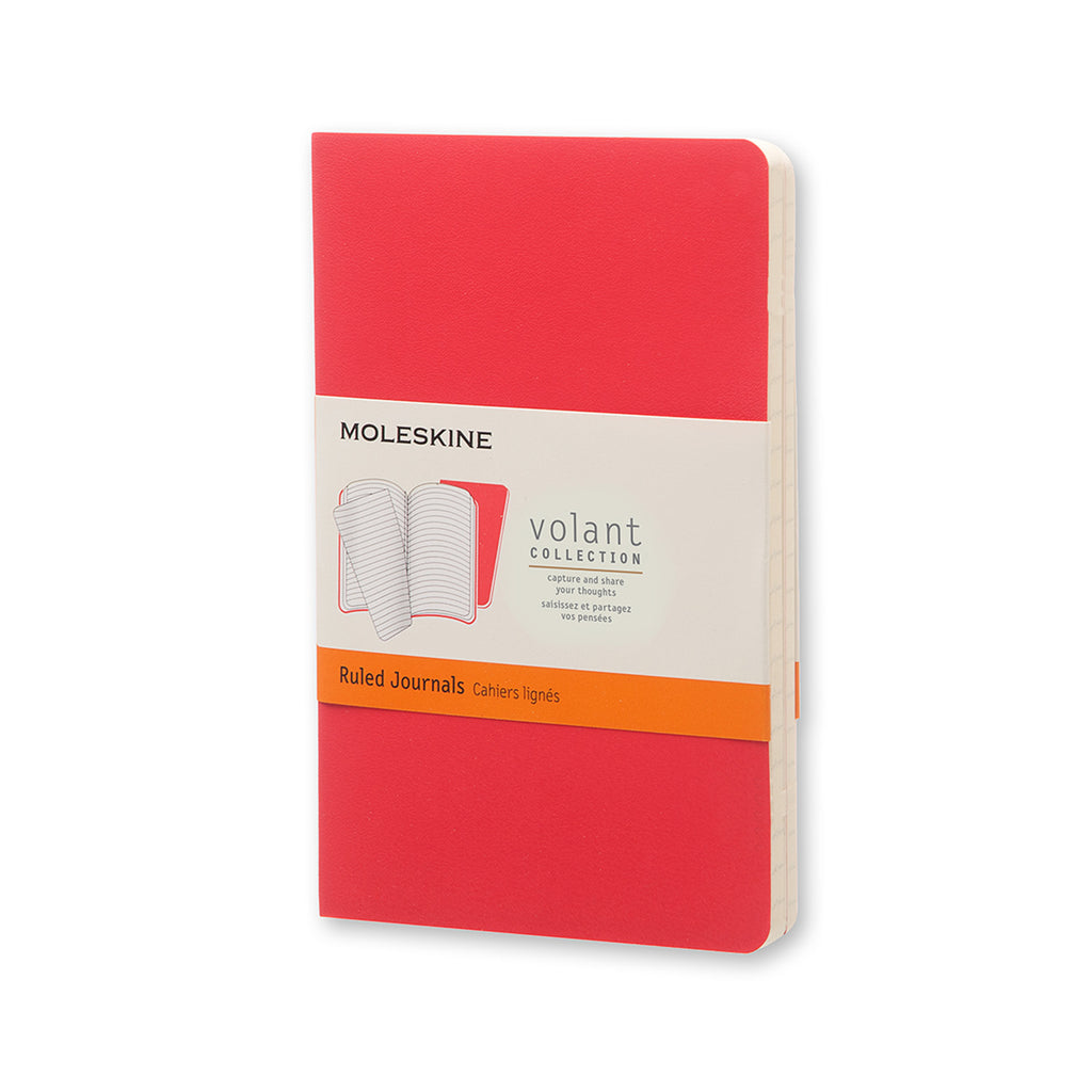 Moleskine Volant Ruled Pocket Journals Set of 2 Geranium Red