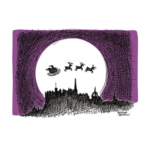 Santa Over Edinburgh Christmas Card