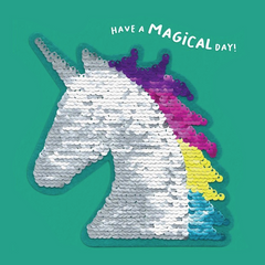 Have A Magical Day Unicorn Sequin Patch Card