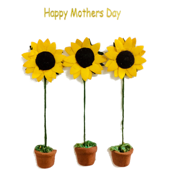 Three Sunflower Pots Mother's Day Card