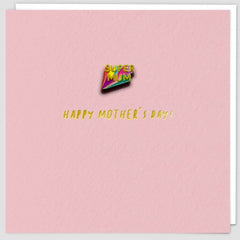 Super Mum Pin Badge Card