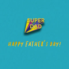 Super Dad Pin Badge Card