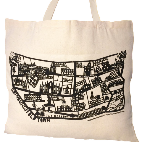 Edinburgh Map Double Sided Tote Bag