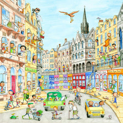 A View Of Victoria Street Gingerpaws Square Card