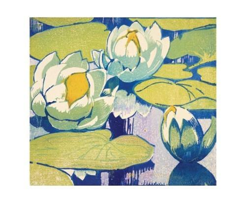 Blue and Green Water Lillies Woodcut Card