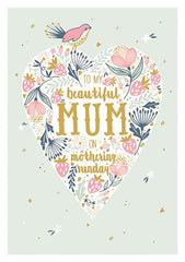 To My Beautiful Mum Heart Card
