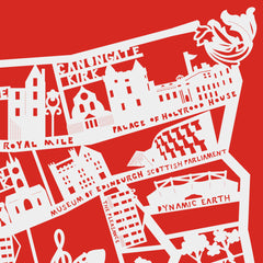 Lasercut A2 Edinburgh Old Town Map - White on Red