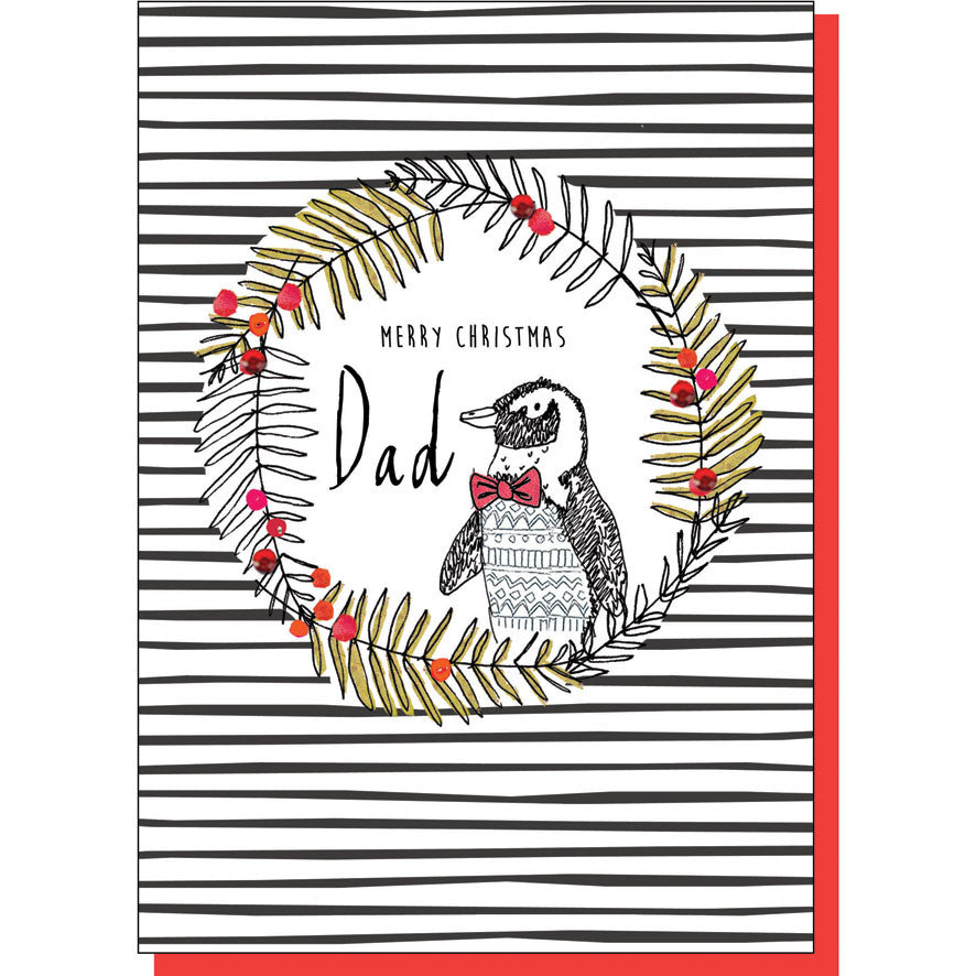Dad Penguin in Wreath Christmas Card
