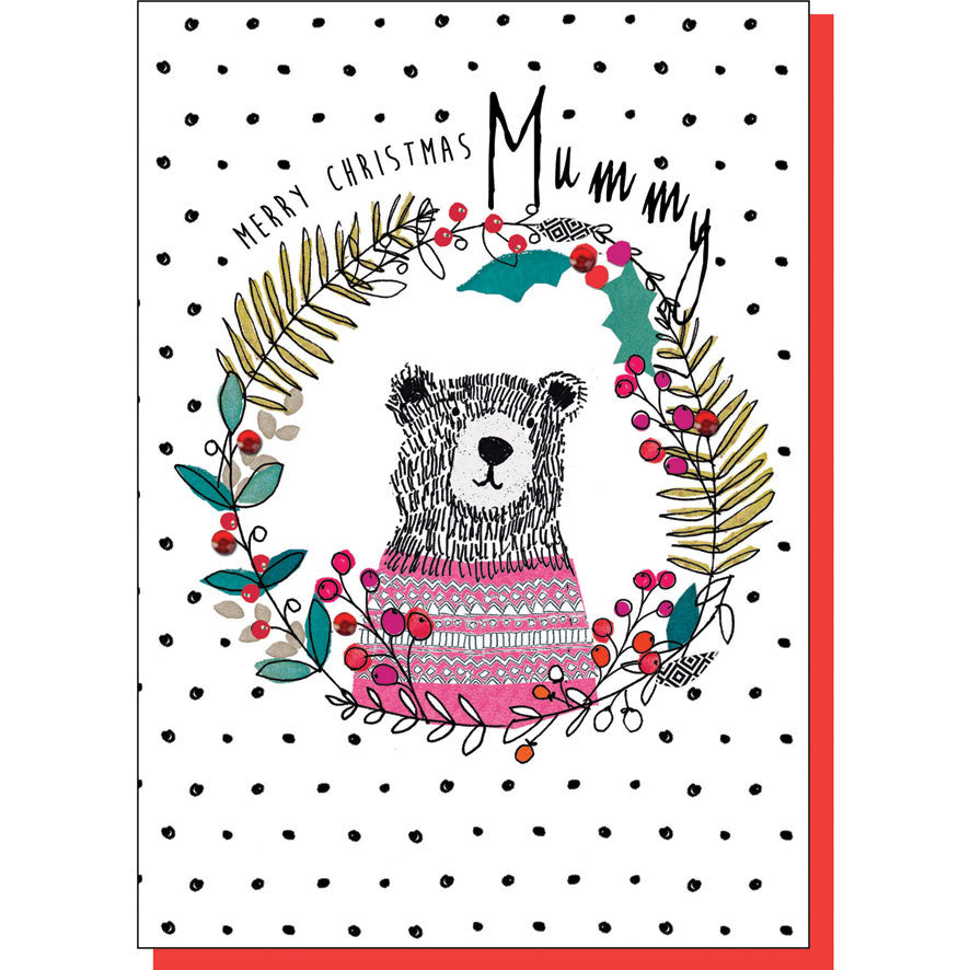 Mummy Bear in Wreath Christmas Card
