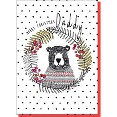 Daddy Bear In Wreath Christmas Card