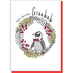 Grandad Penguin in Wreath Christmas Card