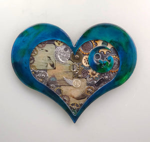 "Steampunk Heart: Beach Theme Blue ($125) 10"" x 8"""