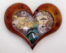 "Steampunk Heart: Beach Theme Patina ($125) 10"" x ""8"""