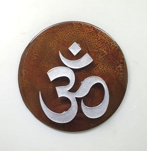 "Metal Wall Art:  OM - Red ($65) 7.5"" diameter"