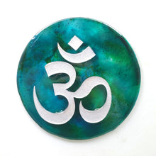"Metal Wall Art:  OM - Patina ($65) 7.5"" diameter"