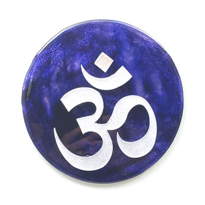 "Metal Wall Art:  OM - Blue-green ($65) 7.5"" diameter"