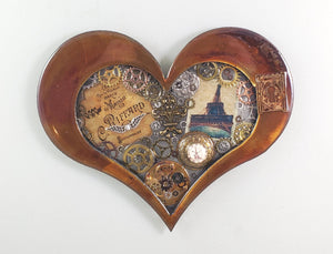 "Steampunk Heart: Paris Patina ($125) 10"" x 8"""