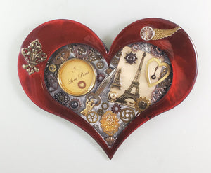 "Steampunk Heart: Paris Fleur Red ($125) 10"" x 8"""