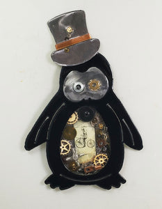 "Steampunk Penguin Silver Hat ($95) 10"" x 6"""