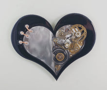 "Steampunk Heart: Torn Black ($125) 10"" x 8"""
